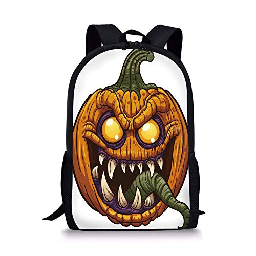 School Bags Halloween,Scary Pumpkin Monster Evil Character with Fangs Aggressive Cartoon,Purple Orange Dark Green for Boys&Girls Mens Sport Daypack ()