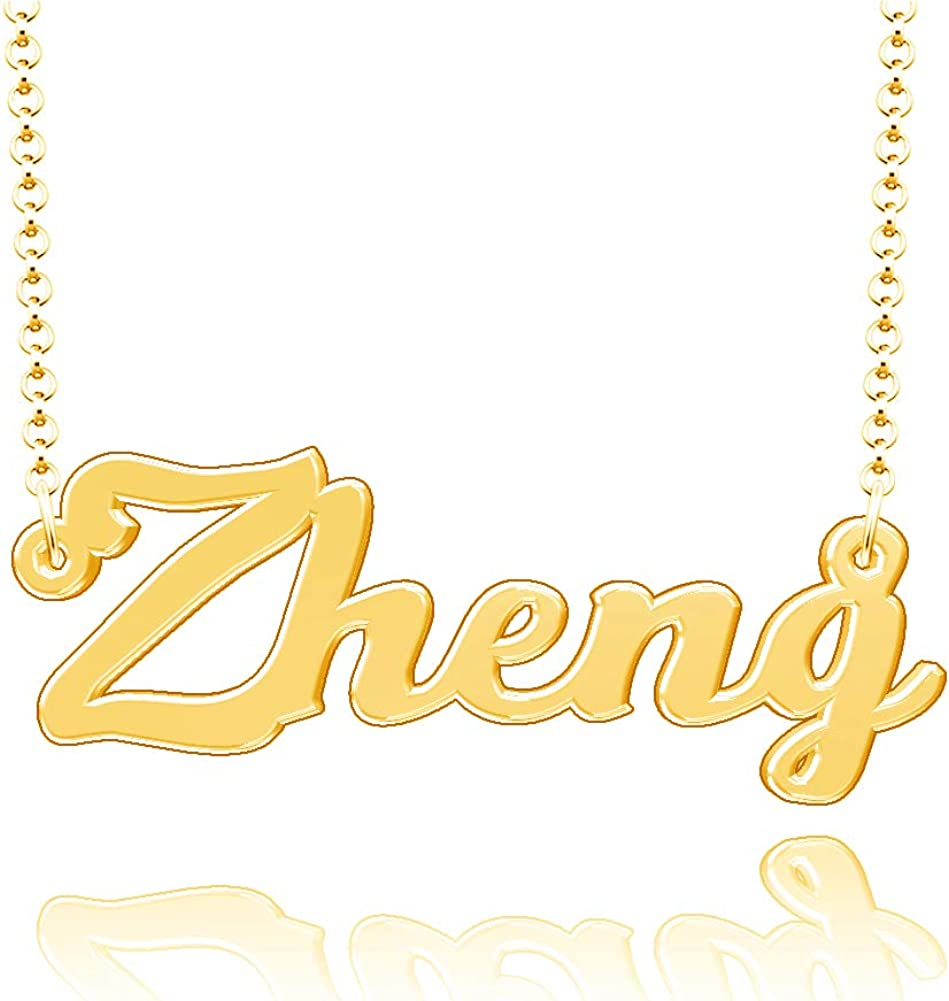 LoEnMe Jewelry Customized Zheng Name Necklace Stainless Steel Plated Custom Made of Last Name Gift for Family