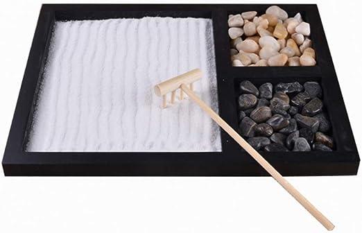 VOSAREA jardín Zen meditación jardín de Rocas y Arena para Escritorio y hogar con Adornos en Miniatura de rastrillo japonés: Amazon.es: Hogar