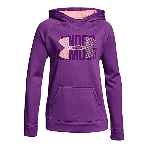 Under Armour Girls' Armour Fleece Big Logo Hoodie, Purple Rave/Pop Pink, Youth (Girl Places Kids Sweatshirt)