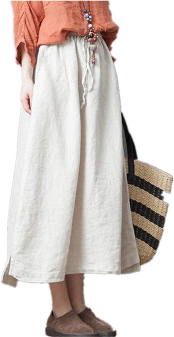 hibote Falda Mujer Retro Largas Suave Cómodo Verano Cintura Elástica Falda de Lino Algodón Faldas Cintura Alta Elegante Maxi Falda para Playa M-2XL: Amazon.es: Ropa y accesorios