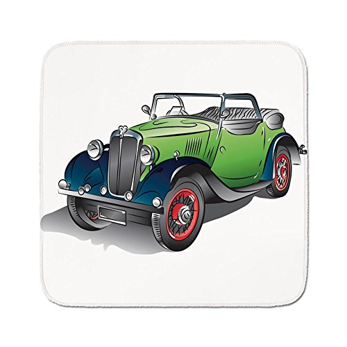 Cozy Seat Protector Pads Cushion Area Rug,Cars,Hand Drawn Convertible Vintage Green Car with Colorful Rims Retro Vehicle Design Print Decorative,Green Gray,Easy to Use on Any Surface
