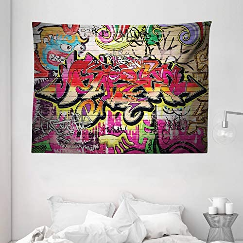 Ambesonne Brick Wall Tapestry, Graffiti on Wall Urban Street Art with Spray Paint Tagger Underground Theme, Wide Wall Hanging for Bedroom Living Room Dorm, 80 X 60 , Soft Red