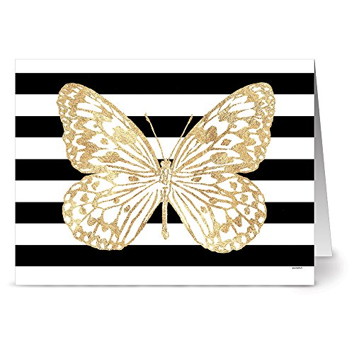 - 24 Note Cards - Bold Butterfly Paper Kite - Blank Cards - Kraft Envelopes Included