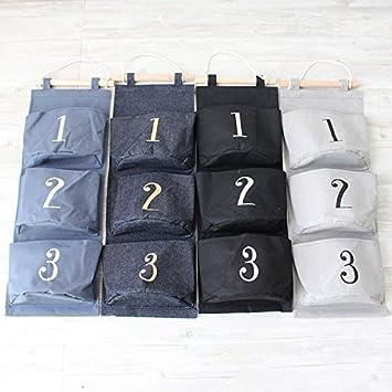 JUNGEN Sacchetti di immagazzinaggio Appeso Porta a Muro con Numero di Tasche a Forma di 3 Tasche con Tasche per riporre Gli Oggetti Blu