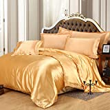 Golden Silk Bedding Luxury Bedding Silk Duvet Cover Set Silk Duvet Cover Silk Pillowcase, King Bedding