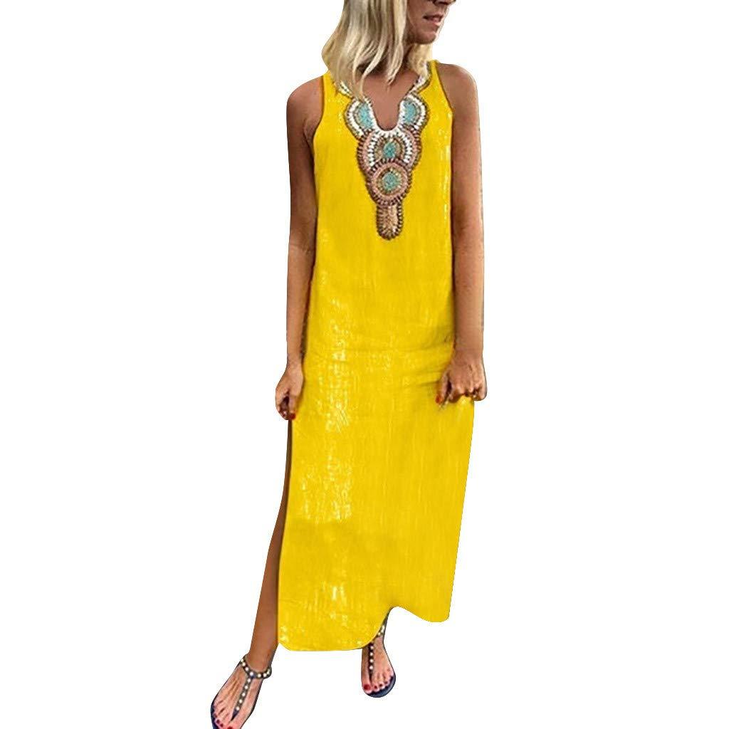 Sttech1 Women's Print V-Neck Sleeveless Cotton Split Hem Baggy Kaftan Long Dress Yellow