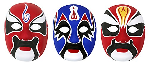HorBous 3 Pack Chinese Peking Opera Mask, Party Mask, Halloween Mask,Wall Decoration Mask