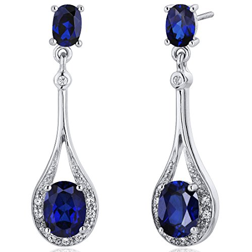 Created Sapphire Dangle Earrings Sterling product image