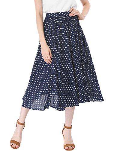 Allegra K Women's Polka Dots Elastic Waist Midi A Line Skirt M (Womens Polka Dot Skirt)