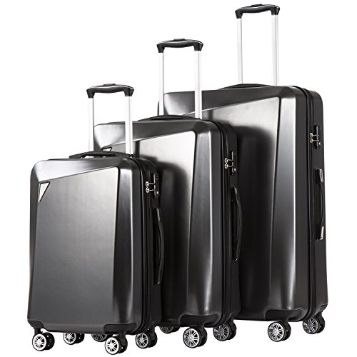 Coolife Luggage 3 Piece Sets PC+ABS Spinner Suitcase 20 inch 24 inch 28 inch (dark gray2)