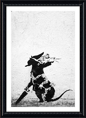"""Alonline Art - Rat With Dollar Eyes And Jigsaw Banksy Black FRAMED POSTER (Print on 100% Cotton CANVAS on foam board) - READY TO HANG   25""""x35""""   Framed Wall Decor Framed Print Wall Art Pictures"""