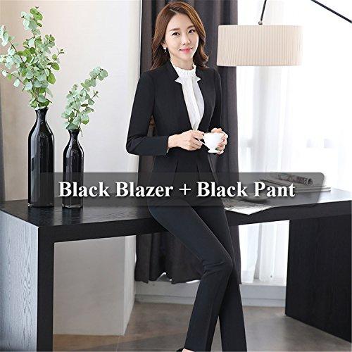 (2 Piece Gray Pant Suits Designs Business Work Wear Jacket with Trousers Sets Black Pant Suit L)