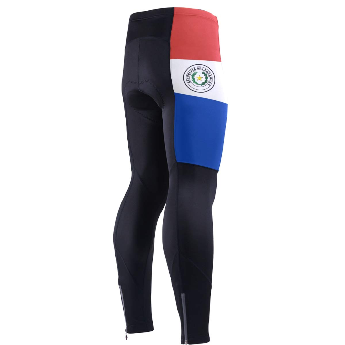 CHINEIN Men's Cycling Jersey Long Sleeve with 3 Rear Pockets Pants Paraguay Flag by CHINEIN