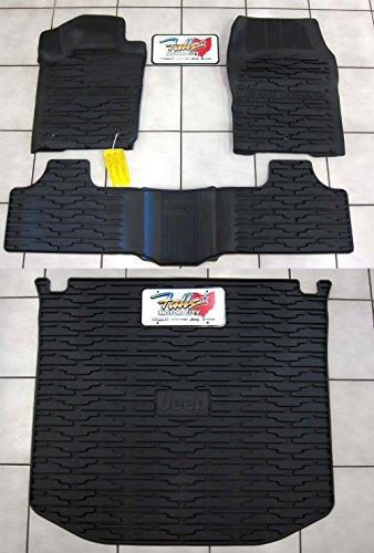 2013-2015 Jeep Grand Cherokee Rubber Slush Floor Mats and Cargo Tray Liner Set