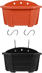 BESPORTBLE 2pcs Wall and Railing Hanging Planters Plastic Pots Indoor Outdoor Half Round Plant Holders for Fence Balcony or Rails Display Herb Gardens Flowers or Plants with S Hooks