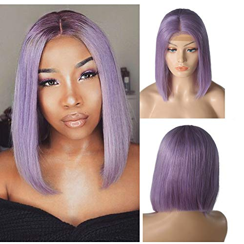 Loviness Short Bob Wig Lilac Human Hair Wigs 8'' 10'' 12'' 14'' Middle Part Lace Front Silky Straight Hair Wigs 180% Density 13X4 Frontal Pre Plucked(8 inches) ()