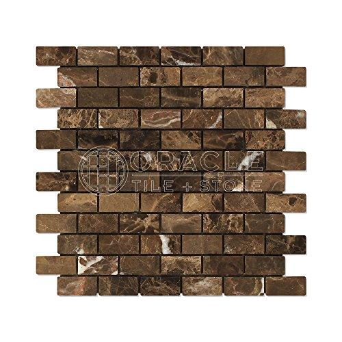 (Emperador Dark Spanish Marble 1 X 2 Brick Mosaic Tile, Tumbled)