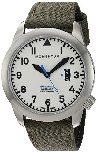 Momentum Men's Swiss Quartz Stainless Steel and Canvas Watch, Color:Green (Model: 1M-SP18LS6G)