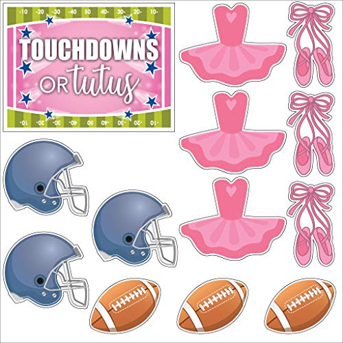 VictoryStore Gender Reveal Decorations - Gender Reveal Football Yard Decorations Touchdowns or Tutus Decorations 13pcs Includes Stakes