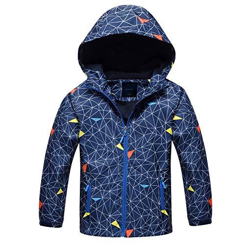 (Jingle Bongala Boys Girls Rain Jackets Outdoor Light Waterproof Jackets with Fleece Hooded Coat-Navy Spider-130)