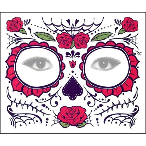 OUFENLI Fashion Temporary Tattoo Stickers Temporary Body Art Supermodel Stencil Floral Day The Dead Sugar Skull Temporary Face Tattoo Kit (D) -