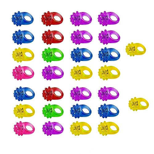 Flashing Bumpy Ring Party Jelly Light Up Finger Ring Toys for Kids Adults - Perry Katy Make Easy To Costume