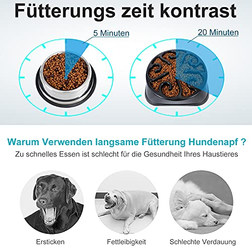 LEACOOLKEY Langsame Fütterung Hundenapf für Große Hunde, Anti-Gulping Maze Hundefutter Schüssel Aufblähen Stop Puzzle Bowl Ungiftig Umweltfreundlich Anti-Choke Große Hundenäpfe