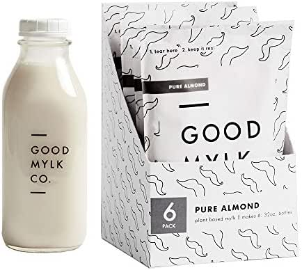 Almond Milk Concentrate Bundle (Bottle Included) - Make Fresh Almond Milk At Home - Makes 6: 32oz Bottles - Organic, Non-GMO, Vegan, Low Glycemic, Sustainable, Keto, Dairy Free (Unsweetened + Bottle)