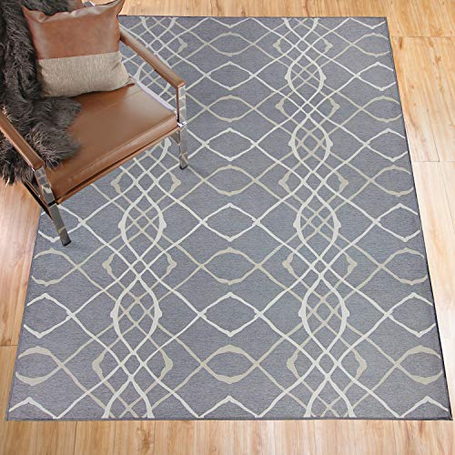 RUGGABLE Washable Stain Resistant Indoor/Outdoor, Kids, Pets, and Dog Friendly Area Rug 5'x7' Amara Grey by RUGGABLE (Image #1)