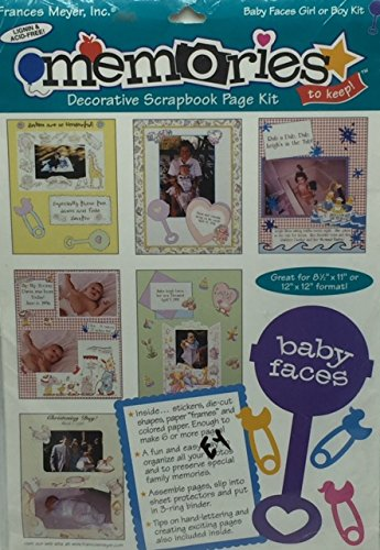 Memories Decorative Scrapbook Page Kit- Baby Faces Girl or Boy Kit- Great for 8 1/2