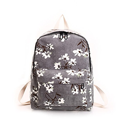 Flannel Daisies - New Version Daisy Flannel Floral Printing Light Weight School Backpack For Girls (grey)