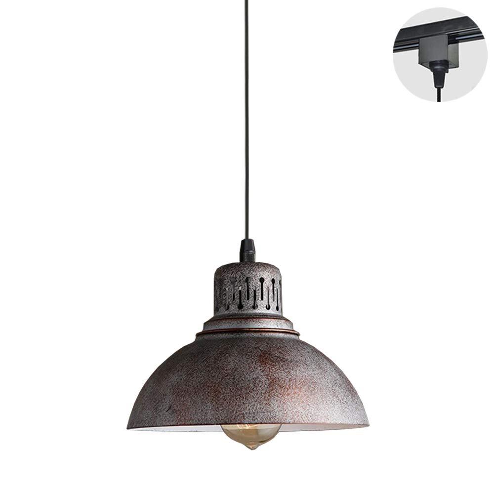 STGLIGHTING 1-Light H-Type Track Light Pendants 4.9 Feet Cord Copper Shade Retro Nostalgia American Loft Industrial Style Pendant Lighting for Restaurant Bulb Not Included