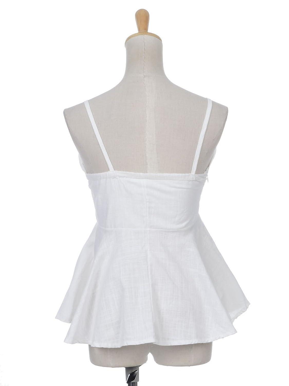 Anna-Kaci Womens White Sweetheart Neckline Bow Trim Peplum Pleat Waist Top