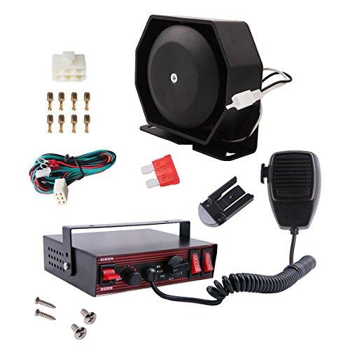 VSEK SoundAlert 8 Tone 100W Emergency Vehicle Warning Siren Slim Speaker PA System Set w/ Handheld Microphone