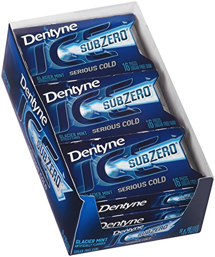 Dentyne Ice Sub Zero Sugar Free Gum, Glacier Mint , 16 Count, Pack of 9