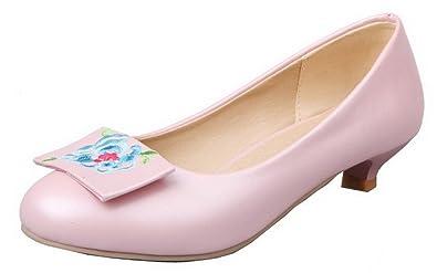 AalarDom Damen Schnalle Hoher Absatz PU Rein Pumps Schuhe, Pink, 40