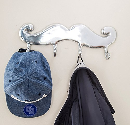 Contemporary Mustache Wall Coat Hangers by Comfify | Hand-Cast Aluminum Coat and Hat Hook, Tie Rack, Clothes Rail, and More | Polished Finish, Includes Screws + Anchors