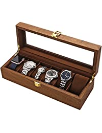 LESTAR Watch Box, Executive 6 Slots Watch Case with Valet, Glass Topped Wooden Watch Display Case Watch Organizer, Jewelry Storage Case