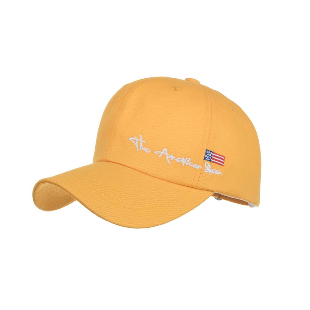 2019 Unisex Womens Mans Summer Casual Outdoor Caps Cotton Embroidered Baseball Caps Adjustable Dad Hats (Yellow, Free Size)