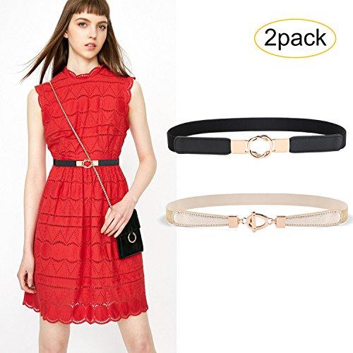 (JASGOOD 2 Pack Women Retro Elastic Stretchy Metal Buckle Skinny Waist Belt 1Inch Wide)