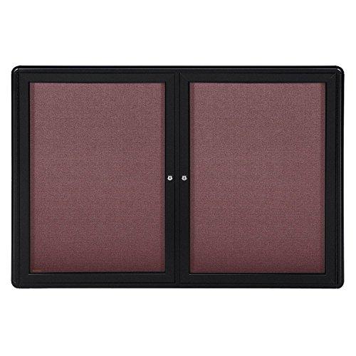 "34""x47"" 2-Door Ovation Bulletin Board, Merlot Fabric, Black Frame"