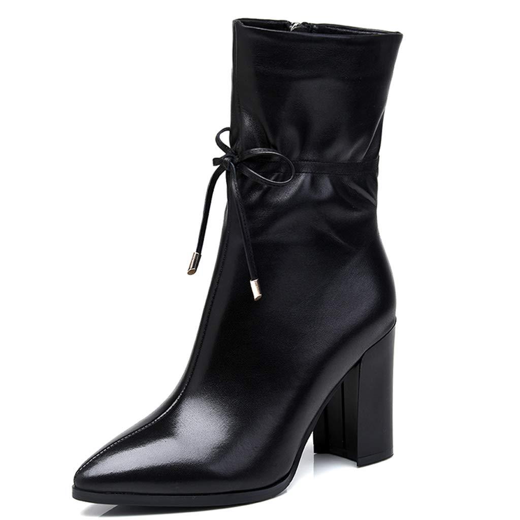 Leder High Heel Damen Damen Heel Stiefel dick mit mittleren Stiefeln 2018 Winter Neue Stiefel in der Tube Knight Stiefel wies Martin Stiefel (Farbe   SCHWARZ, größe   37) 6ac5f3