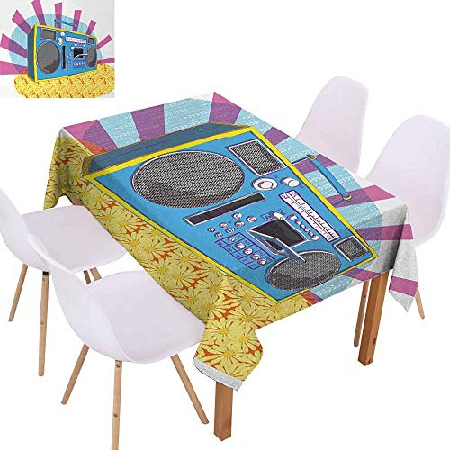 UHOO2018 70s Party,Washable Table Cloth,Retro Boom Box in Pop Art Manner Dance Music Colorful Composition Artwork Print,for Outdoor and Indoor Use,Multicolor,60