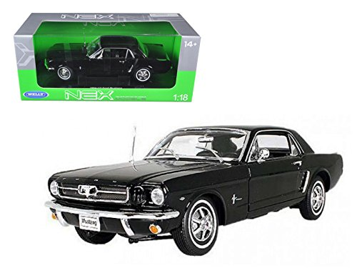 1964-1/2 Ford Mustang Hard Top Black 1/18 Diecast Model by Welly 12519hw/bk