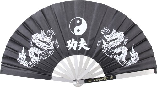 BladesUSA 2510-CBK Kung Fu Fighting Fan, Metal Frame, Black/White, 14-3/4-Inch Length, 27-1/4-Inch Open