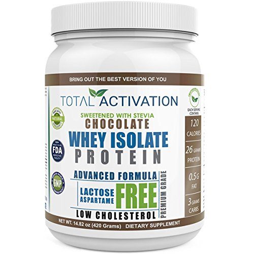 Chocolate Flavored Whey Isolate Protein Powder, 100% Lactose-Free Non-GMO Low Carb Whey Isolate with Stevia for Muscle Nutrition and Natural Weight Loss (High Protein Low Cholesterol)