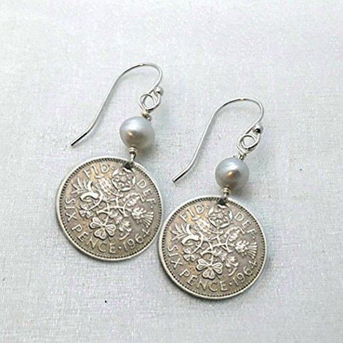 Sixpence Coin Earrings. Vintage Sixpence earrings. Lucky sixpence jewelry.