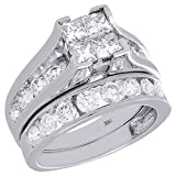 14K White Gold Quad Princess & Round Cut Diamond 2 Piece Engagement Ring + Wedding Band Bridal Set 3 Cttw