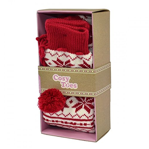 Toes Cosy Boot Jacquard Socks Red HFqSrvFdw